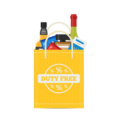 Flat icons of duty free shop and goods at vector