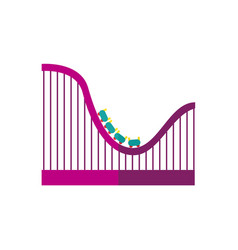 Flat roller coaster icon vector
