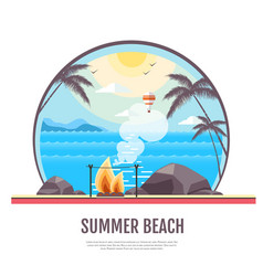 Flat style design of summer beach landscape vector
