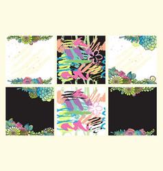 floral set succulent hand drawn design vector image