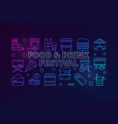food and drink festival colored banner - vector image