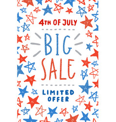 Fourth of july sale poster design vector