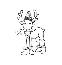 Funny elk nursery art minimalist scandinavian vector