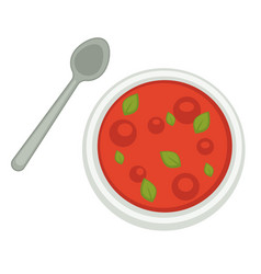 Gazpacho or cooked tomato soup with basil leaves vector