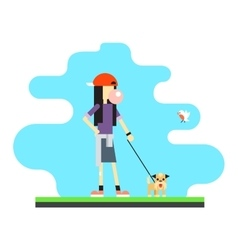 Geek Hipster Girl Lifestyle Dog Bird Sky vector