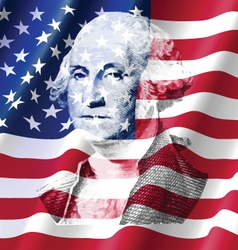 George Washington on United of America Flag vector image