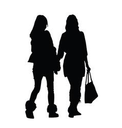 Girl walking silhouette vector