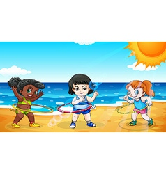 Girls at the beach vector