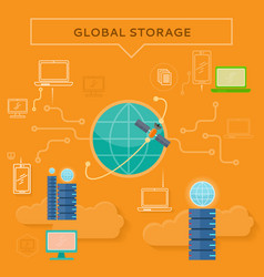 global storage web banner in flat style vector image