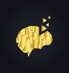Gold brain triangle technology logo vector
