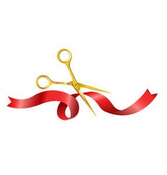 Gold shiny scissors cutting red silk ribbon vector