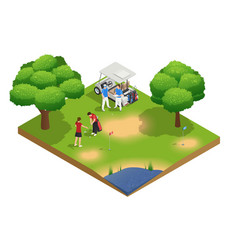 Green golf course isometric top view composition vector