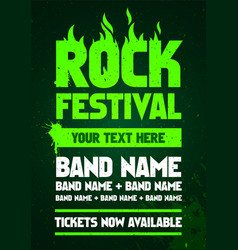 green grunge rock festival flyer design vector image