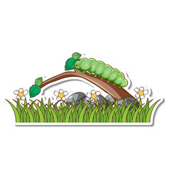 Green worm on a branch with grass field sticker vector