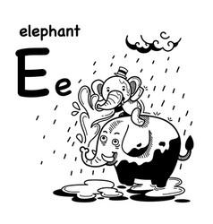 Hand drawnalphabet letter e-elephant vector