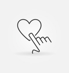 Hand pointing heart outline icon vector