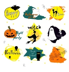 happy halloween silhouette collections design vector image