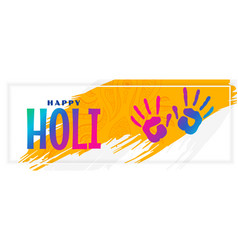 Happy holi festival celebration banner with hand vector
