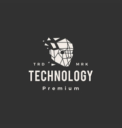 head tech technology geometric hipster vintage vector image