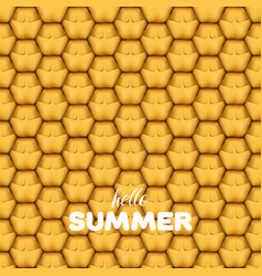 hello summer letters in pineapple texture vector image