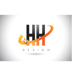 Hh h h letter logo with fire flames design and vector