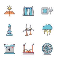 intensity icons set cartoon style vector image