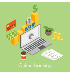 isometric concept for online banking credit card vector image