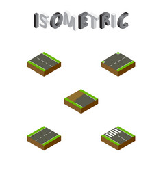 Isometric way set of single-lane strip cracks vector
