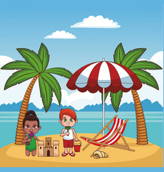 kids and beach cute cartoons vector image