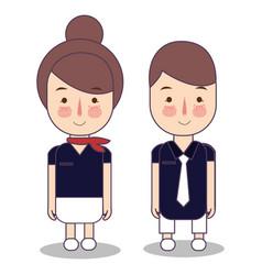 Kids in professions cartoon airplane cabin crew vector