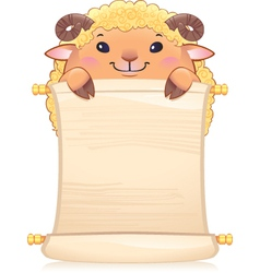 Lamb with scroll vector