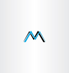 letter m cyan black logo icon vector image