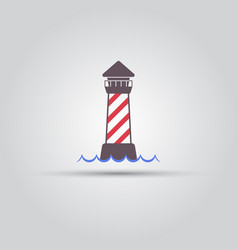 lighthouse and wave isolated colored icon vector image
