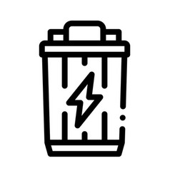 lightning battery icon outline vector image
