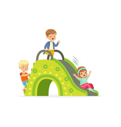 Little kids two boys and girl playing on colorful vector