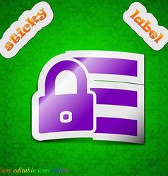 Lock login icon sign Symbol chic colored sticky vector