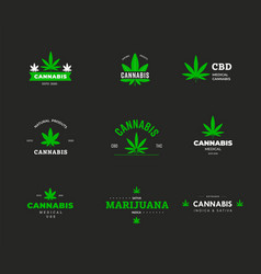 Logo template with organic cannabis sbd and thc vector