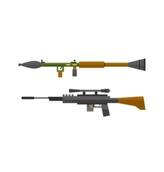 Machine gun sniper rifle set vector image
