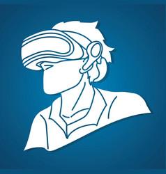man wearing virtual reality glasses cartoon vector image