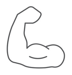 muscle thin line icon bodybuilding and sport vector image