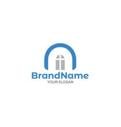 N window church logo design vector