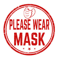 Please wear mask sign or stamp vector