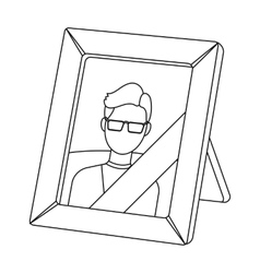 Portrait of deceased person icon in outline style vector