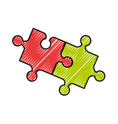 Puzzle pieces isolated icon vector