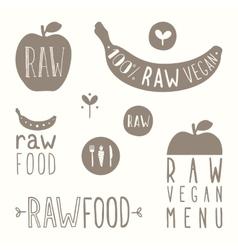 Raw vegan labels vector
