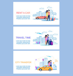 rent car travel time city transfer journey vector image