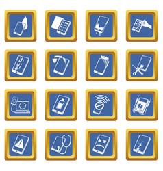 Repair phones fix icons set blue square vector
