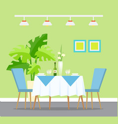 Restaurant interior design table dinner setting vector