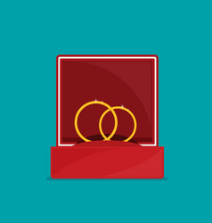 Rings in box flat vector