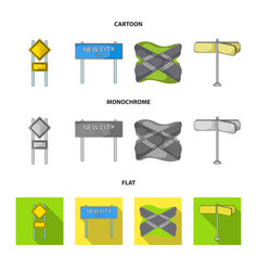 Road signs and other web icon in cartoonflat vector